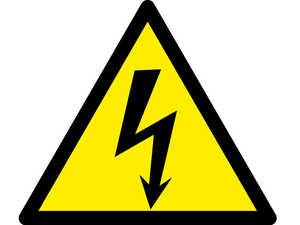Знак попереджувальний  Небезпека ураження електричним струмом