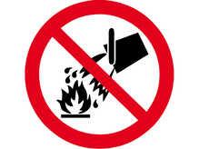 """Знак """"Забороняється гасити водою""""  D =250 мм."""