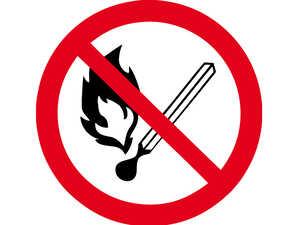 """Знак """"Забороняється використання відкритого полум'я""""  D =250 мм."""