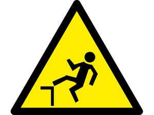 Знак попереджувальний  Обережно можливе падіння з висоти