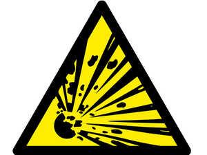 Знак попереджувальний  Вибухонебезпечні речовини